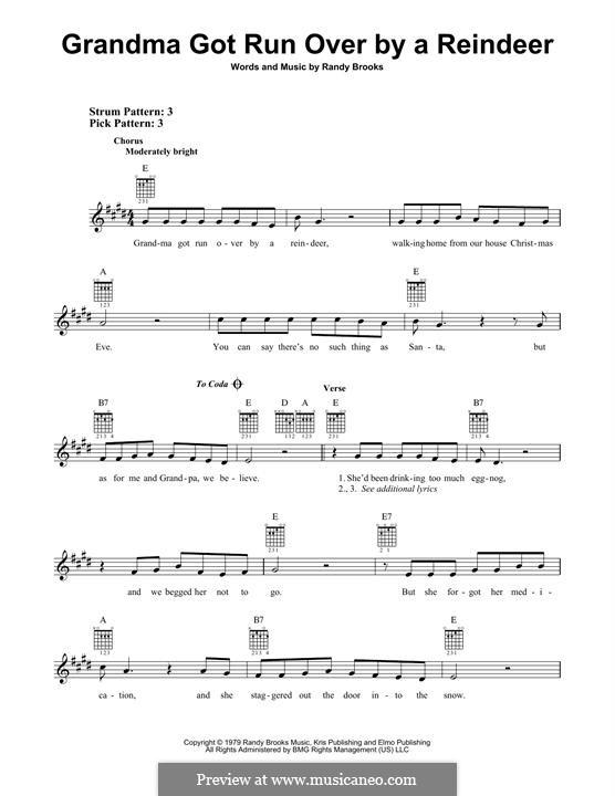 Grandma Got Run Over By a Reindeer: Гитарная табулатура by Randy Brooks