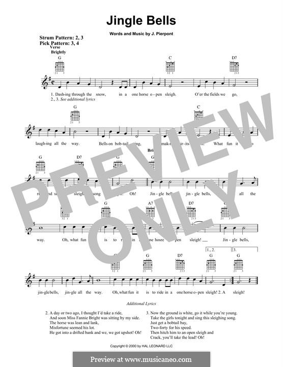 Jingle Bells (Printable scores): Гитарная табулатура by James Lord Pierpont