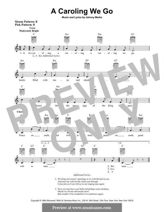 A Caroling We Go: Гитарная табулатура by Johnny Marks