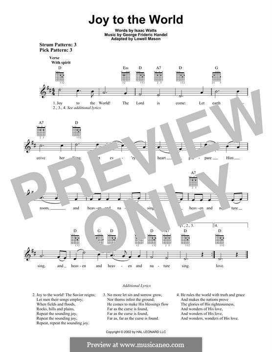 Joy to the World (Printable Scores): Гитарная табулатура by Георг Фридрих Гендель
