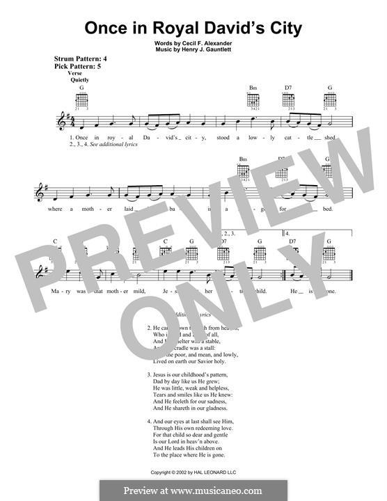 Once in Royal David's City: Гитарная табулатура by Henry John Gauntlett