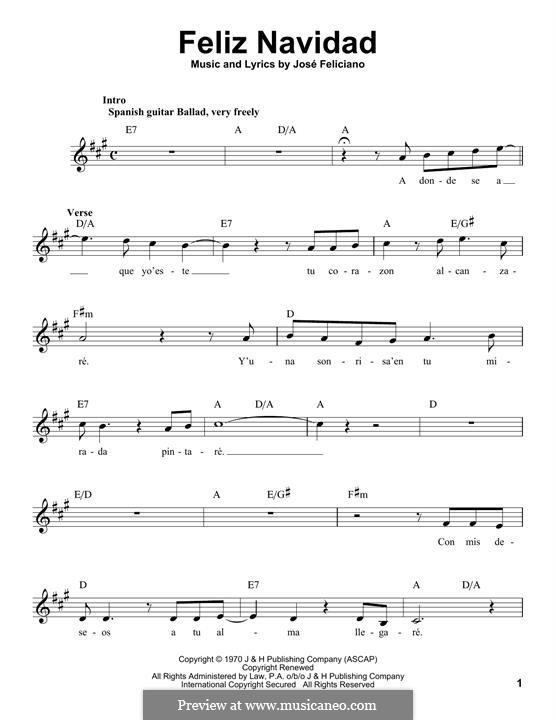 Feliz Navidad: Melody line (Michael Bublé) by José Feliciano