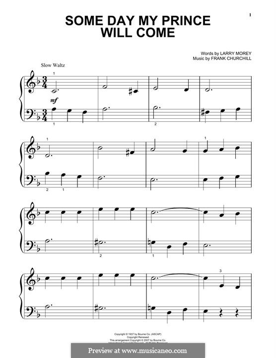 Some Day My Prince Will Come (from Snow White and The Seven Dwarfs): Для фортепиано by Frank Churchill