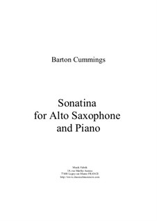 Sonatina for alto saxophone and piano: Sonatina for alto saxophone and piano by Barton Cummings