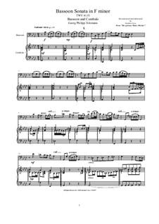 Bassoon Sonata in F minor for Bassoon and Cembalo (or Piano), TWV 41 f1: Bassoon Sonata in F minor for Bassoon and Cembalo (or Piano) by Георг Филипп Телеманн