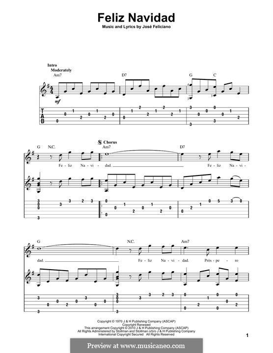Feliz Navidad: Гитарная табулатура by José Feliciano