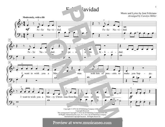 Feliz Navidad: Для фортепиано by José Feliciano