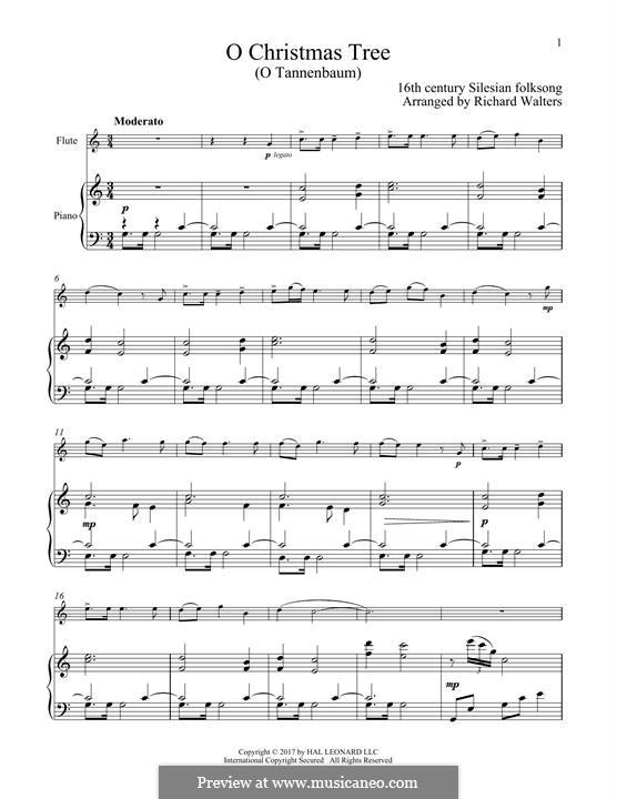 O Christmas Tree, (Printable Scores): Для флейты и фортепиано by folklore