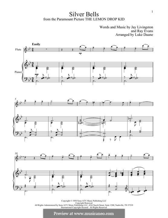 Silver Bells: Для флейты и фортепиано by Jay Livingston, Raymond Evans