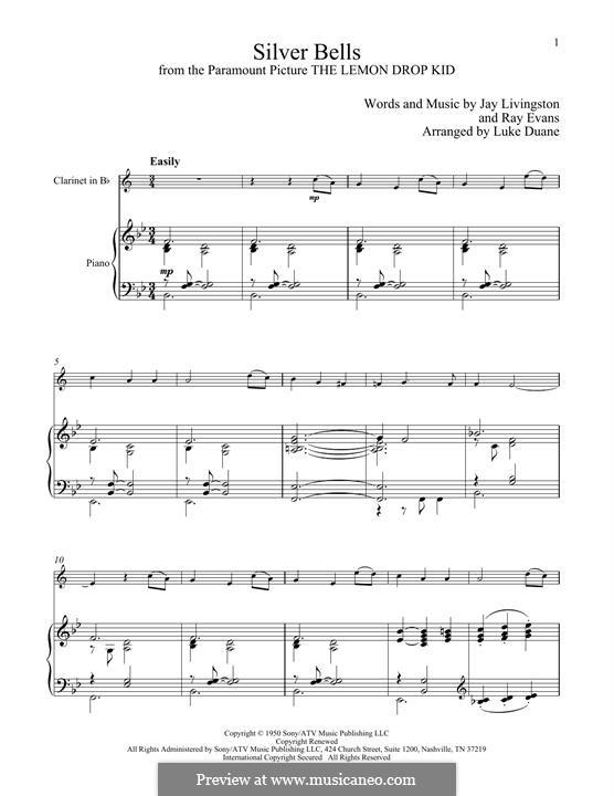 Silver Bells: Для кларнета и фортепиано by Jay Livingston, Raymond Evans