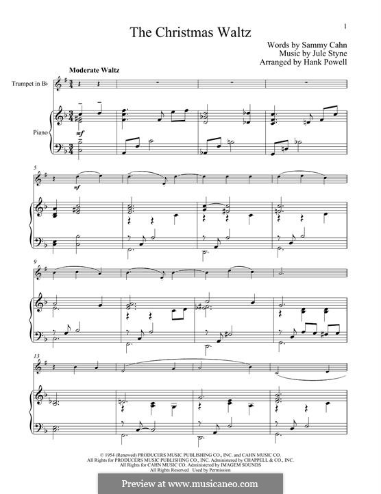 The Christmas Waltz: For trumpet and piano by Jule Styne