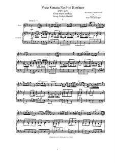 Соната для флейты и клавесина си минор, HWV 367b Op.1 No.9b: Партитура, сольная партия by Георг Фридрих Гендель