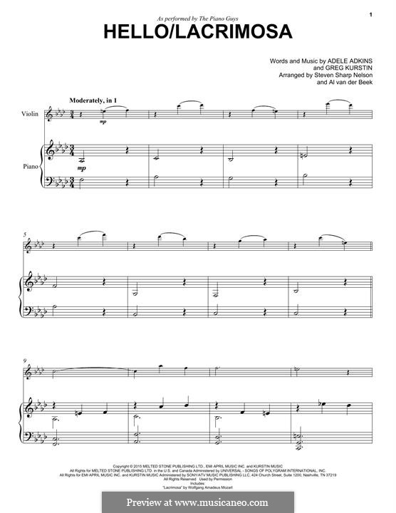 Hello / Lacrimosa (The Piano Guys): Для скрипки и фортепиано by Adele, Greg Kurstin