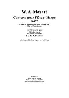 Концерт для флейты, арфы и орекстра до мажор, K.299: Piano reduction and solo parts by Вольфганг Амадей Моцарт