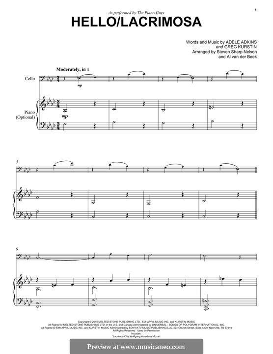 Hello / Lacrimosa (The Piano Guys): Для виолончели и фортепиано by Adele, Greg Kurstin