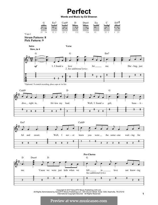 Perfect: Гитарная табулатура by Ed Sheeran