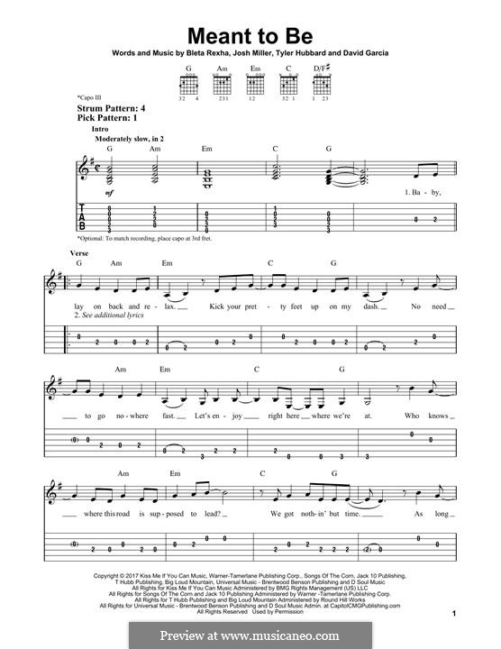 Meant To Be (Bebe Rexha feat. Florida Georgia Line): Гитарная табулатура by Joshua Miller, Tyler Hubbard, Bebe Rexha, David Garcia