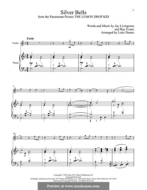 Silver Bells: Для скрипки и фортепиано by Jay Livingston, Raymond Evans