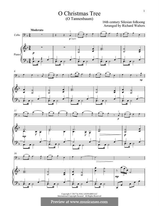 O Christmas Tree, (Printable Scores): Для виолончели и фортепиано by folklore