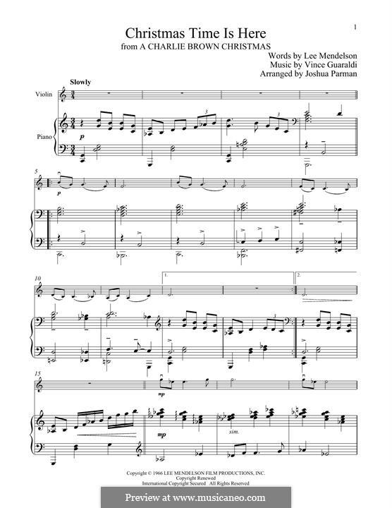 Christmas Time is Here: Для скрипки и фортепиано by Vince Guaraldi