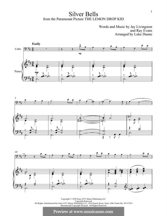 Silver Bells: Для виолончели и фортепиано by Jay Livingston, Raymond Evans
