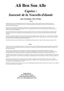 Caprice: Souvenir de la Nouvelle-Zélande for alto saxophone and piano: Caprice: Souvenir de la Nouvelle-Zélande for alto saxophone and piano by Ali Ben Sou Alle