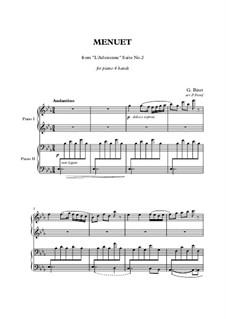 Сюита II: Minuet, for piano four hands by Жорж Бизе