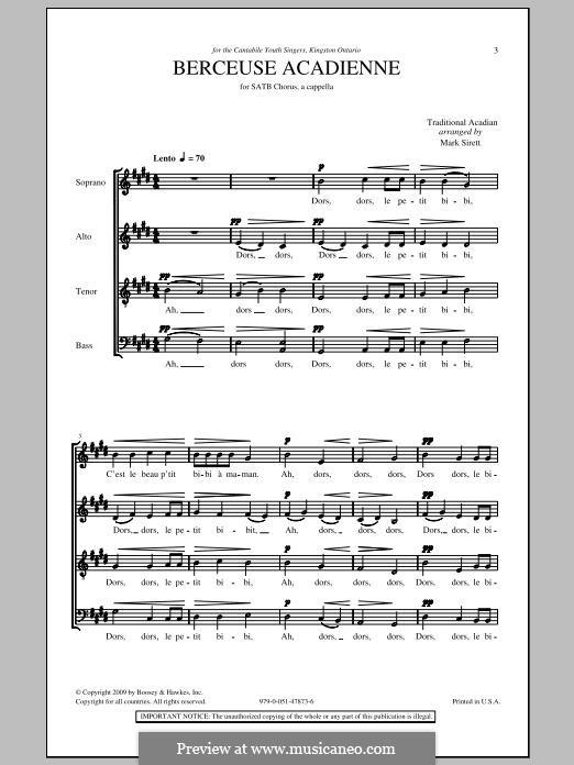 Berceuse Acadienne: Для смешанного хора by folklore
