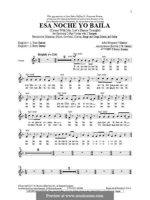 Esa Noche Yo Baila (Come with Me, Let's Dance Tonight): Для смешанного хора by folklore
