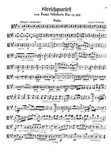 Соната для скрипки и фортепиано ля мажор, D.574 Op.162: Переложение для струнного квартета – партия альта by Франц Шуберт