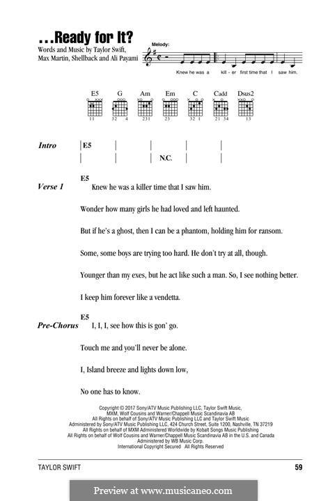 ...Ready for It? (Taylor Swift): Текст, аккорды by Shellback, Max Martin, Taylor Swift, Ali Payami