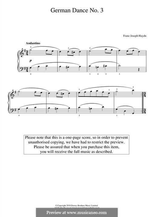 German Dance No.3: Для фортепиано by Йозеф Гайдн