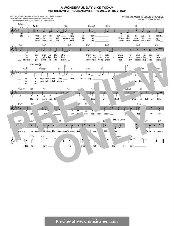 A Wonderful Day Like Today: Мелодия by Anthony Newley