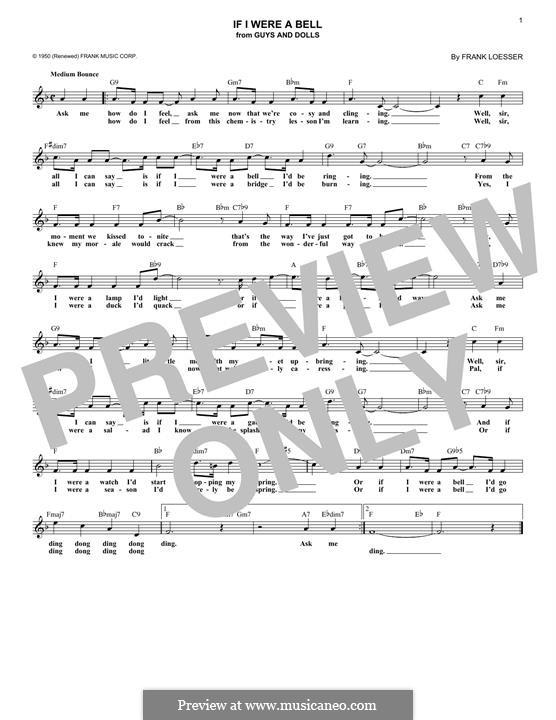 If I Were a Bell: Мелодия by Frank Loesser