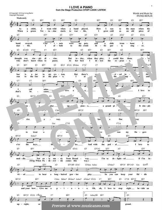 I Love a Piano: Мелодия by Ирвинг Берлин