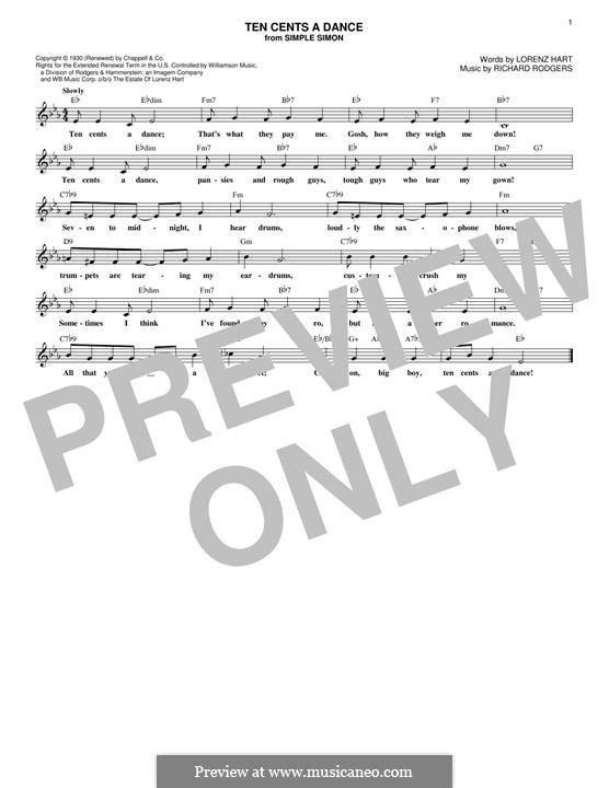 Ten Cents a Dance: Мелодия by Richard Rodgers