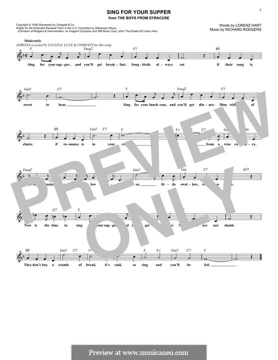 Sing for Your Supper: Мелодия by Richard Rodgers