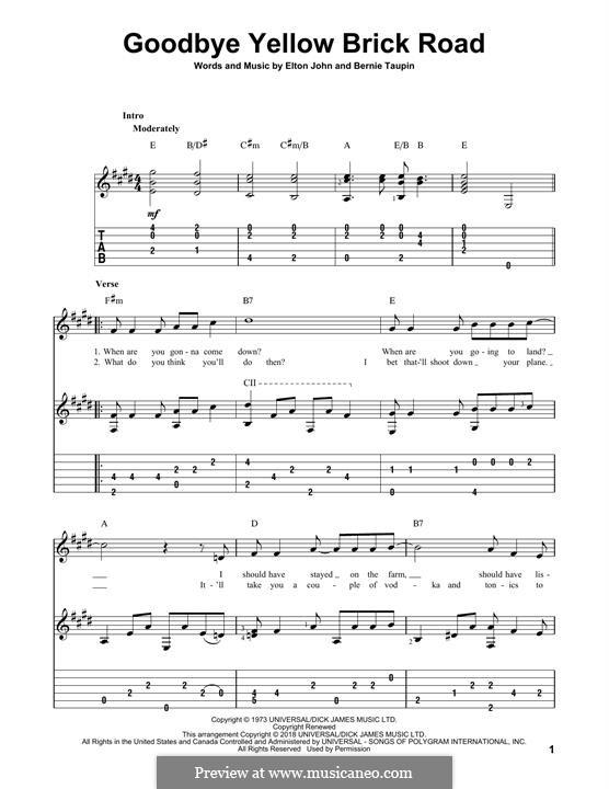 Goodbye Yellow Brick Road: Гитарная табулатура by Elton John