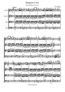 Ария Папагено: For string quartet – full score by Вольфганг Амадей Моцарт