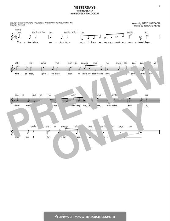 Yesterdays: Мелодия by Джером Керн