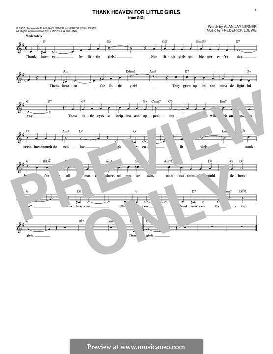 Thank Heaven for Little Girls (Maurice Chevalier): Мелодия by Frederick Loewe