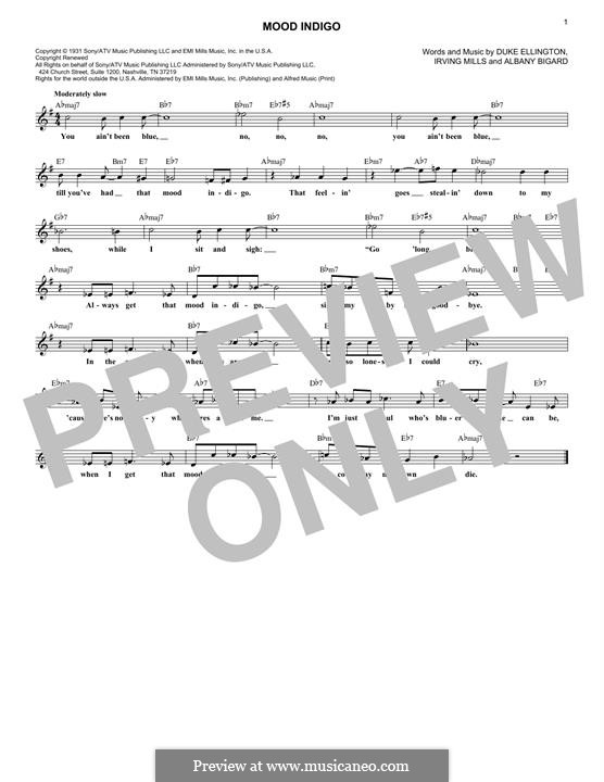Mood Indigo: Мелодия by Irving Mills, Albany Bigard, Duke Ellington