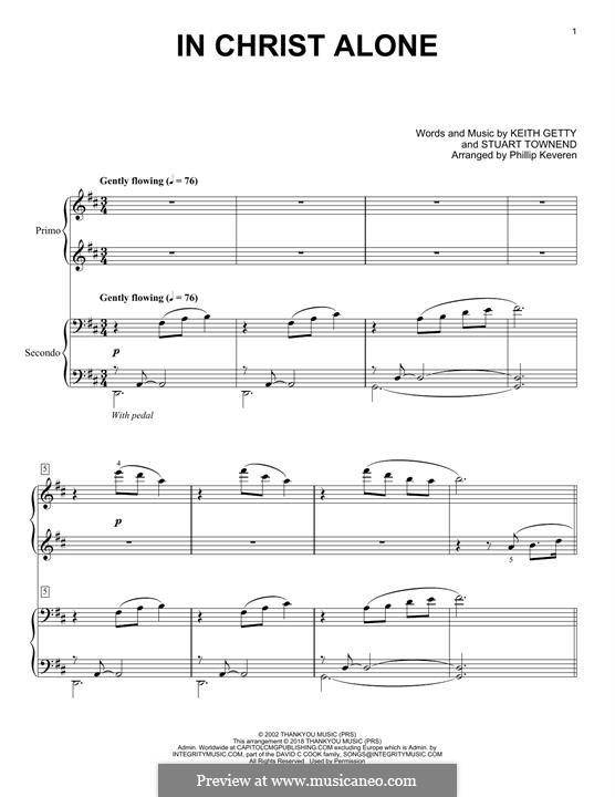 In Christ Alone (Newsboys): Для фортепиано (легкий уровень) by Keith Getty, Stuart Townend