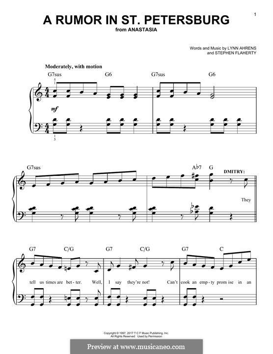 A Rumor in St. Petersburg: Для фортепиано by Lynn Ahrens, Stephen Flaherty