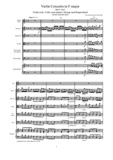 Concerto for Oboe and Strings in F Major, BWV 1053R: Score, parts by Иоганн Себастьян Бах