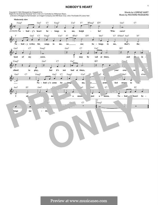 Nobody's Heart: Мелодия by Richard Rodgers