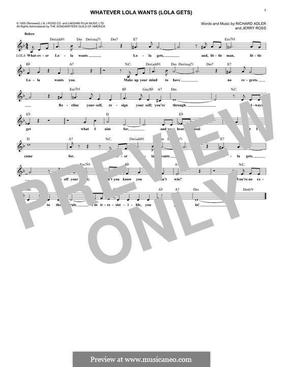 Whatever Lola Wants (Lola Gets): Мелодия by Jerry Ross, Richard Adler