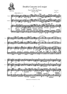 Concerto for Two Violins and Strings in G Major, RV 516: Version for two violins and piano by Антонио Вивальди