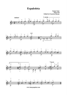 Españoleta in D Minor: Для гитары by Гаспар Санц