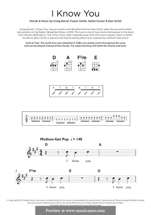 I Know You (Craig David feat. Bastille): Для укулеле by Craig David, Daniel Smith, Fraser T. Smith, Helen Culver